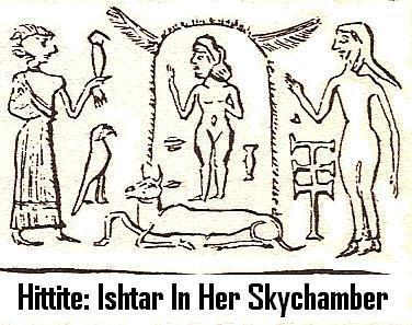 7 - Hittite artefact, Inanna In Her Skychamber travels to meet Ereshkigal in the Under World