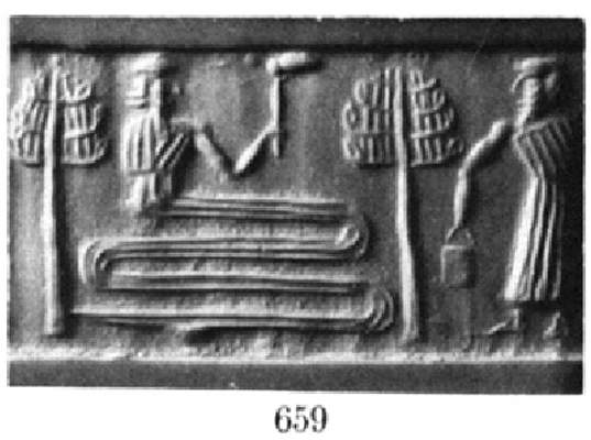 """8f - Ningishzidda & father Enki, the wisest of all the gods, work to collect the """"life's essense"""" of each species marked for survival"""