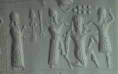 "Marduk, Shala, Nannar, & Enlil symbols; Gilgamesh scene from ""Epic of Gilgamesh"" text"