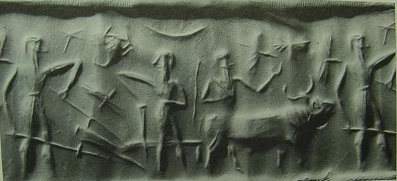 Farming - naked plowman seal, Cain was to learn farming, while his brother Abel tended sheep