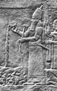 King Ashurbanipal, named after his protector god Ashur, a mixed-breed descendant of the gods, appointed to authority position over earthlings