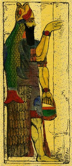 """1 - Dagon - Oanes - Enki wearing the """"Fish's Suit"""" - an alien wet suit used by the Anunnaki when in the waters"""
