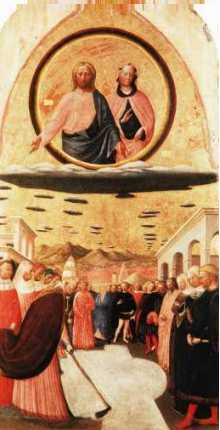 12 - The Miricle of the Snow-Masolino Da Panicale, 1383-1440 Florence, many sky-discs carrying the gods