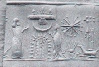 14 - sky-gods above in their sky-disc; Enki Wearing the Fish' Suit