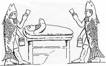 24 - Enki & Abgal with unidentified on bed, Oannes priests
