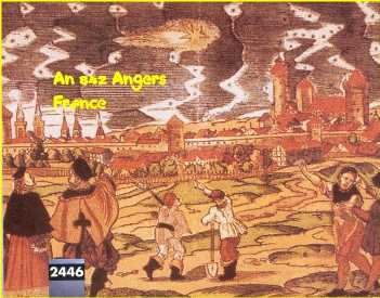 4 - Painting of Sighting in Angers, France 842, alien battle scene in the sky