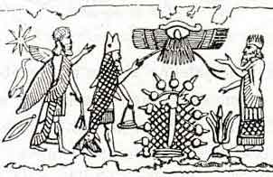 12 - alien gods above in winged sky-disc; Enki donned the fishes suit & meets father-in-law Alalu on Persian Gulf shore