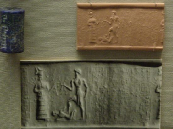 7i - giant gods Inanna & brother Utu with smaller disobedient earthling underfoot