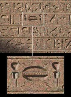 13 - Egyptian wall relief of aliens landed with their sky-disc