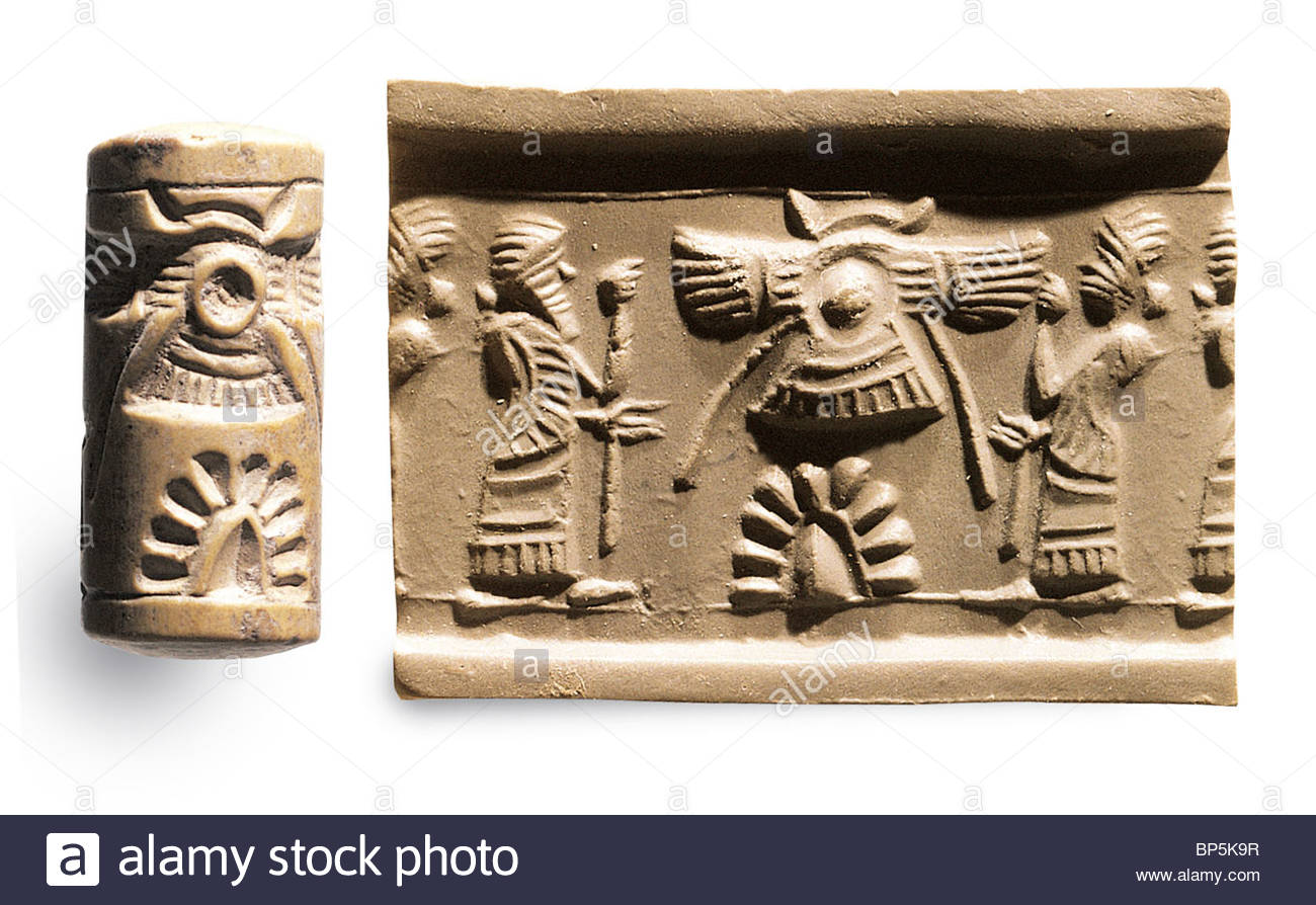 1 - cylinder-seal-depicting-sacred-tree-surmounted-by-winged-solar-disk-BP5K9R
